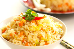 Fried rice with egg in a bowl Royalty Free Stock Photos