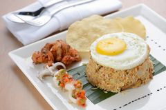Fried rice with egg, chicken and prawn cracker Stock Images