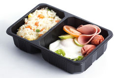 Fried Rice with Egg Ham and Sausage Stock Photos