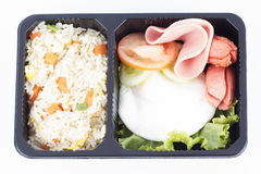 Fried Rice with Egg Ham and Sausage Stock Photo