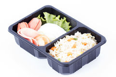 Fried Rice with Egg Ham and Sausage Stock Image