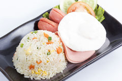 Fried Rice with Egg Ham and Sausage Royalty Free Stock Photo