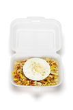 Fried rice with egg in open Styrofoam box Stock Photos