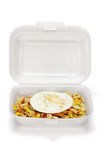 Fried rice and egg in Styrofoam box Stock Image