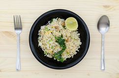 Fried rice egg witn lime Royalty Free Stock Photos