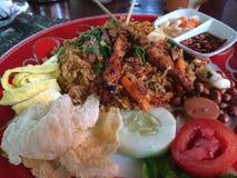 Fried Rice eller indones Nasi Goreng i en Ubud restaurang Arkivbild