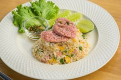 Fried rice with fermented pork and vegetable, Thai food Stock Photos
