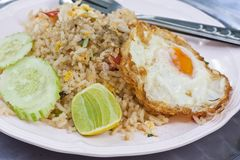 Fried rice with fried eeg Royalty Free Stock Images