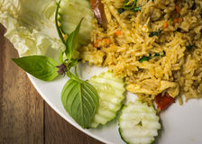Fried rice with green curry chicken Royalty Free Stock Image