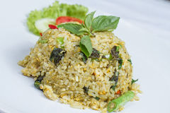 Fried rice with green curry with chicken Royalty Free Stock Images