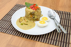 Fried rice green curry with pork and boil egg Royalty Free Stock Photos