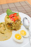 Fried rice green curry with pork and boil egg Stock Photography