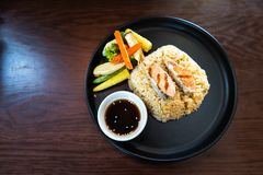 Fried rice Grilled and Mackerel Japanese Style royalty free stock photos