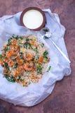 Fried rice with kari with buffalo kurt. Fried rice with kari and shrimp with buffalo kurt Stock Image