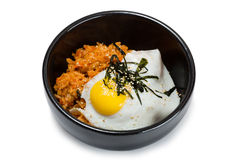Fried rice with kimchi and pork Stock Photo
