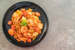 fried rice with korea spicy sauce and shrimps Stock Image