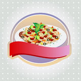 Fried Rice Label. One full plate of risotto or fried rice in label. EPS 10 file, with no gradient meshes,blends,opacity, stroke path,brushes.Also all elements stock illustration