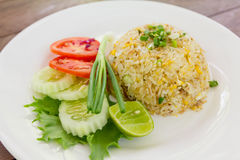 Fried rice with lemon ,Spring onion, cucumber and tomato Stock Photos