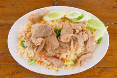 Fried rice with meat Stock Photo