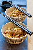 Fried rice with meat. In Japanese style stock photography