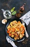 Fried Rice med grönsaker och kött fotografering för bildbyråer