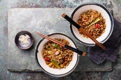 Fried Rice med grönsaker och sesam Fotografering för Bildbyråer