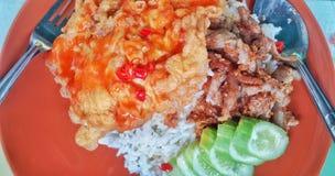 Fried Rice med griskött och omelett Royaltyfri Foto