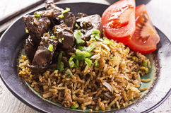 Fried Rice med lever Royaltyfria Bilder