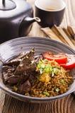Fried Rice med lever Royaltyfri Fotografi
