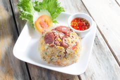Fried Rice met Thaise Worst Stock Afbeelding