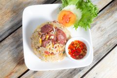 Fried Rice met Thaise Worst Stock Foto's
