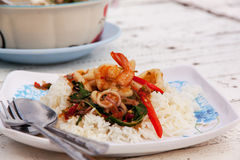 Fried rice with mixed seafood Basil 01 Royalty Free Stock Photography