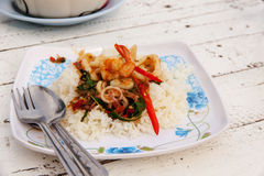 Fried rice with mixed seafood Basil 2 Stock Image