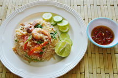 Fried rice mixed seafood and pork with chili fish sauce Royalty Free Stock Images