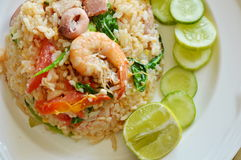 Fried rice with mixed seafood and pork on dish Royalty Free Stock Photos