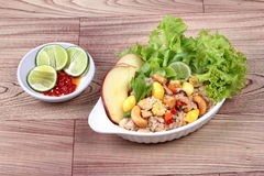 Fried  rice with mixed vegetable and side dish. Side view. Royalty Free Stock Photo