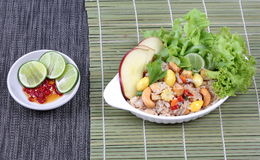 Fried  rice with mixed vegetable and side dish. Side view. Stock Photo