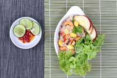 Fried rice with mixed vegetable and side dish.   Top view Stock Image