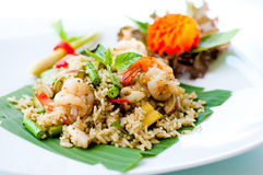 Fried rice mixing seafood Royalty Free Stock Images