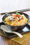 Fried rice with mushroom,sweet corn and carrot Royalty Free Stock Photography