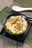Fried rice with mushroom,sweet corn and carrot Royalty Free Stock Photos
