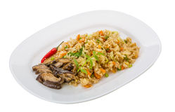 Fried rice with mushrooms Stock Photos