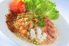 Fried rice nasi goreng. Fried rice with shrimp serve in hot Royalty Free Stock Image