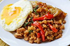 Fried rice noodle and spicy chop pork with basil leaf topping egg Royalty Free Stock Photo