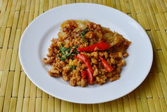 Fried rice noodle and spicy minced pork with basil leaf on dish Royalty Free Stock Photography