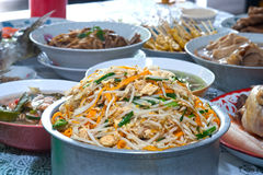 Fried rice noodles with bean sprouts. Royalty Free Stock Photography
