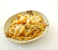 Fried rice noodles with seafood Stock Photos