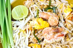 Fried rice noodles with Seafood. (pad thai Royalty Free Stock Photo