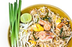 Fried rice noodles with Seafood. (pud thai Royalty Free Stock Image