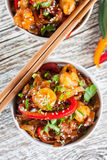 Fried rice noodles with shrimp. Fried rice noodles with shrimp - selective focus Royalty Free Stock Photo